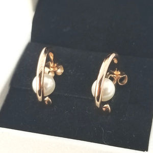 Pandora Rose Gold Pearls Hoop Earrings # 287528P